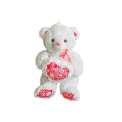 Бяло плюшено мече с розово сърце и панделка
